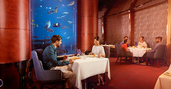 Romantic gourmet dinner at Al Mahara in Burj Al-Arab
